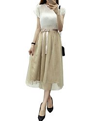Women's Solid Gold Skirts,Cute Midi