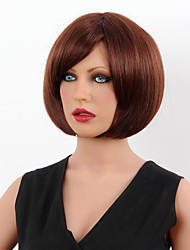Capless Short Chestnut Brown Bobo Human Hair Wigs