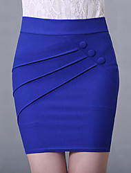 Women's Solid Blue / Red / Black Bodycon Skirts,Sexy/Work Above Knee High Waist Polyester/Spandex/Cotton