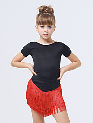 Kids' Dancewear Dresses Children's Performance Spandex / Polyester Tassel(s) 1 Piece Fuchsia / Red Latin Dance Backless Short Sleeve Dress