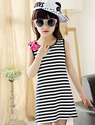 Girl's Black / Red Dress,Stripes Polyester Summer