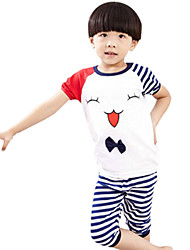 Boy's Cotton Summer Casual Cartoon Pattern Sport Clothes Set