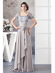 A-line Mother of the Bride Dress Floor-length Chiffon with Beading / Bow(s)