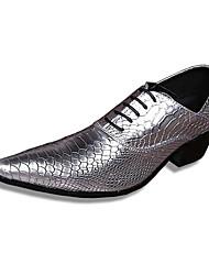 Sapatos Masculinos Oxfords Prateado / Dourado Couro Casamento / Festas & Noite