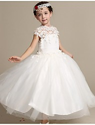 Ball Gown Ankle-length Flower Girl Dress - Lace / Satin / Tulle Sleeveless High Neck with