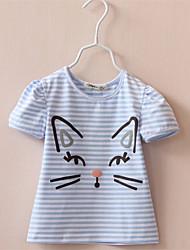Mädchen T-Shirt-Lässig/Alltäglich einfarbig Baumwolle Sommer Blau