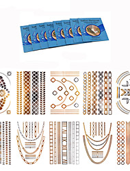 10Pcs Hot Temporary  Metallic Body Art Tattoo Stickers + +8Pcs Cleansing Wipes