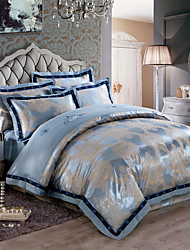 Soft Luxury Silk Cotton Blend Duvet Cover Sets Queen King Size Bedding Set