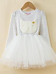 Menina de Vestido Inverno / Outono / Primavera Poliéster Preto / Branco