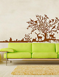 gros stickers muraux arbre animaux de cerfs mur oiseaux autocollant paysage pour la famille