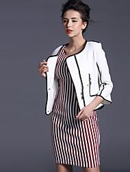 Baoyan® Damen Rundhalsausschnitt Lange Ärmel Pullover & Cardigan Schwarz / Weiß-14527