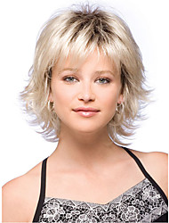 12inch Women Short Curly Wavy Side Bang Synthetic Hair Wigs Beige with Free Hair Net