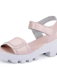 Women's Shoes Chunky Heel Peep Toe / Platform / Open Toe Sandals Outdoor / Dress / Casual Pink / White / Silver