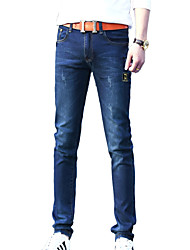 Men's Solid Casual JeansCotton / Polyester Blue ZG-805