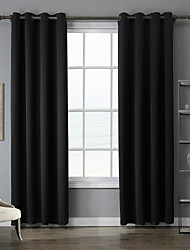 Two Panels Modern Solid Black Bedroom Polyester Blackout Curtains Drapes 140cm Per Panel