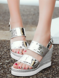 Women's Shoes Patent Leather Wedge Heel Wedges Sandals Office & Career / Dress / Casual Pink / Silver / Gold