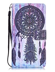 Black Campanula Painting Card Holder Lanyard PU Phone Case for Huawei P9lite
