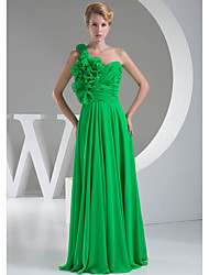Floor-length Chiffon Bridesmaid Dress-Lime Green A-line One Shoulder