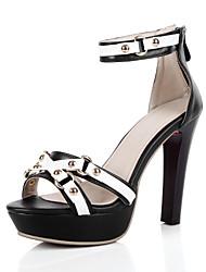 Women's Shoes Leather Stiletto Heel Open Toe Sandals Dress / Casual Black / White