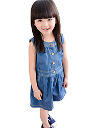 Girl's Cotton Summer Pure Color Denim Dress