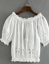 Mulheres Blusa Sem Alças Manga Curta Vazado Algodão Mulheres