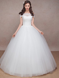 Princess Wedding Dress-White Floor-length Sweetheart  / Tulle