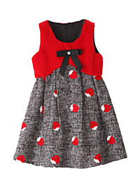 Girl's Dress,Polyester Summer / Spring Red