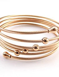 Multi-Layer Beads Charm Stainless Steel Cable Stretchy Bangle