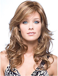 Brown Mix Beige Long Body Wave Synthetic Hair Wigs Side Bang Heat Resistant