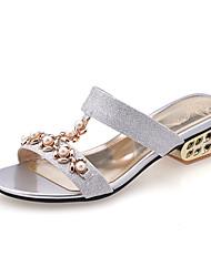 Women's Spring Summer Fall Comfort Glitter Wedding Party & Evening Dress Casual Chunky Heel Block Heel Imitation Pearl Silver Blue Golden
