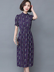 Women's Work Boho Sheath / Chiffon Dress,Print Turtleneck Midi Short Sleeve Blue Polyester Summer
