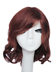 Capless Short Red Brown Silky Wave 100% Human Hair Wig