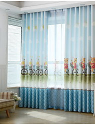 Two Panels Print Kids Room Darkening Curtains