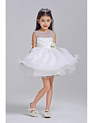 Ball Gown Short / Mini Flower Girl Dress - Tulle / Polyester Sleeveless Jewel with