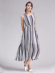 Women's Vintage / Street chic Striped Classic Casual Comfort Chiffion Sheath Dress,Round Neck Maxi