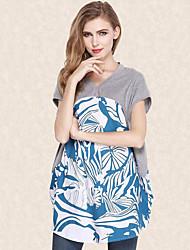 Tee-shirt Aux femmes,Imprimé Sortie Grandes Tailles / Chic de Rue Eté Manches Courtes Col en V Gris Polyester Moyen
