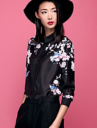 Women's Floral Black Shirt,Shirt Collar Long Sleeve