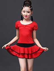 Latin Dance Outfits Children's Performance Spandex / Viscose Draped 2 Pieces Fuchsia / Red / Royal Blue
