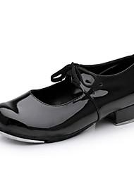 Chaussures de danse(Noir / Rouge) -Non Personnalisables-Talon Bas-Similicuir-Claquettes