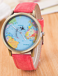 Men's Women's Sport Watch Dress Watch Fashion Watch Wrist watch Large Dial Quartz Fabric Band Charm World Map Multi-Colored