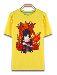 Inspired by Naruto Sasuke Uchiha Anime Cosplay Costumes Cosplay T-shirt Print Yellow Short Sleeve Top