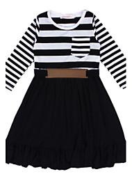 Girl's Black Dress,Stripes Polyester Spring / Fall