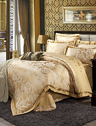 Beige Queen King Size Bedding Set Luxury Silk Cotton Blend Duvet Cover Sets