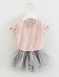 Girl's Pink / White Dress,Lace / Bow Cotton / Polyester Summer