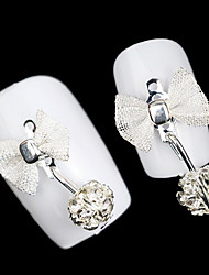 Lovely Mental Pearl Bow Nail Jewelry (5Pcs)