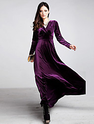 Women's Velvet Fashion Long Sleeve V Neck High-grade Gold Velvet Dress