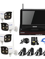 yanse® беспроводной штекер 10-дюймовый и играть HD 4-сп системы безопасности камеры видеонаблюдения p2p 960P домашняя пуля NVR комплект