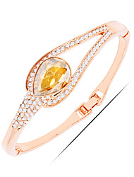 Casual Gold Plated / Alloy / Rhinestone / Gemstone & Crystal Bangle Bracelet