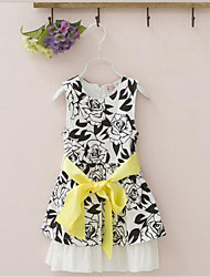 Girl's Casual/Daily Print Dress,Rayon Summer Black / Red