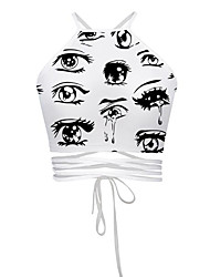 Women's Print White Blouse,Halter Sleeveless